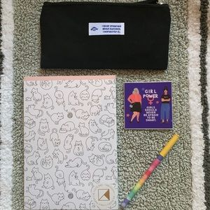 Cat Themed Gift Set Notepad + Pen + Bag + Sticker